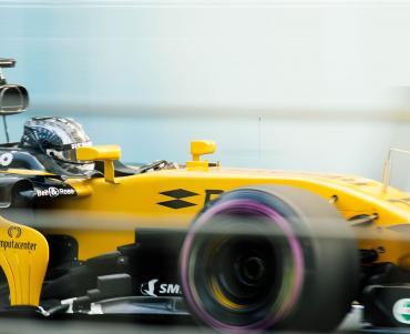 Formula 1 car at full speed