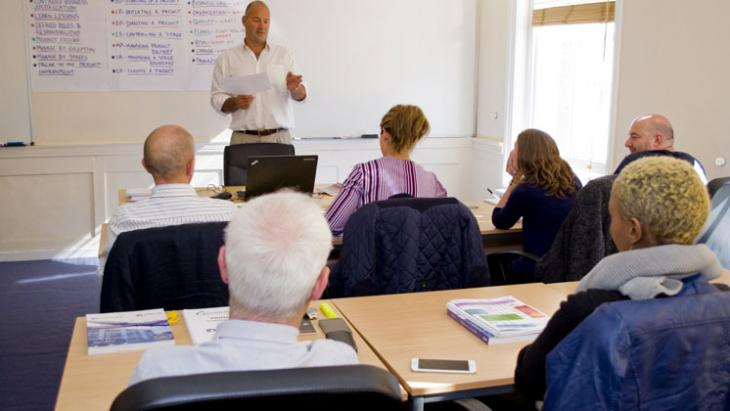 A Knowledge Train classroom whilst a course is in session