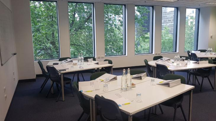 An empty  Project Laneways classroom - prior to a course taking place