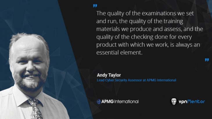 A quote from Andy Taylor featured in t he vpnMentor interview