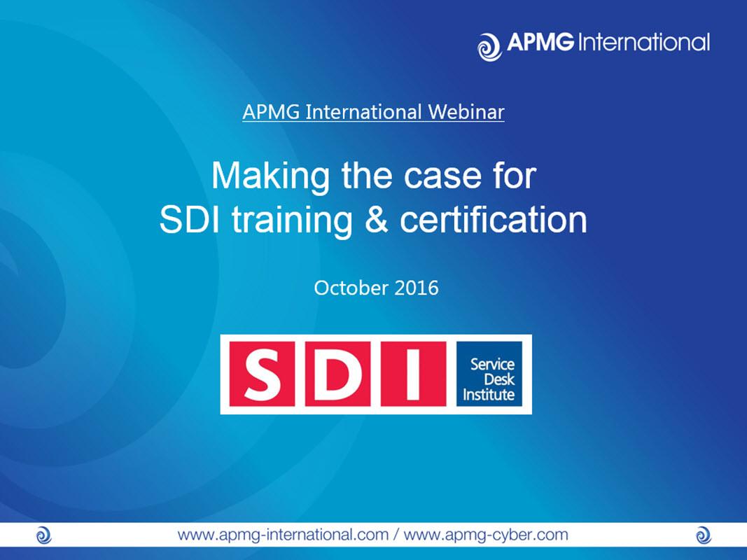 Making The Case For Sdi Training Certification Apmg International