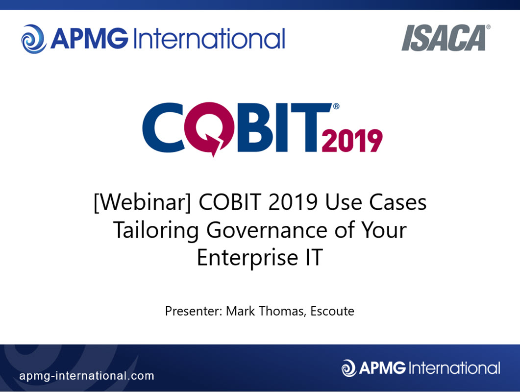 Cobit 2019 Use Cases Tailoring Governance Of Your Enterprise It