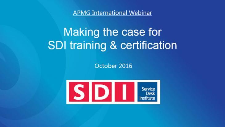 Service Desk Institute (SDI) Webinar hub | APMG International